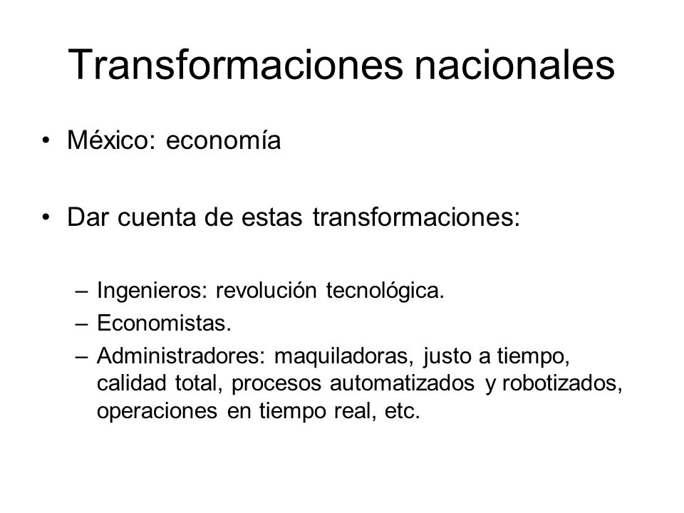Transformaciones nacionales