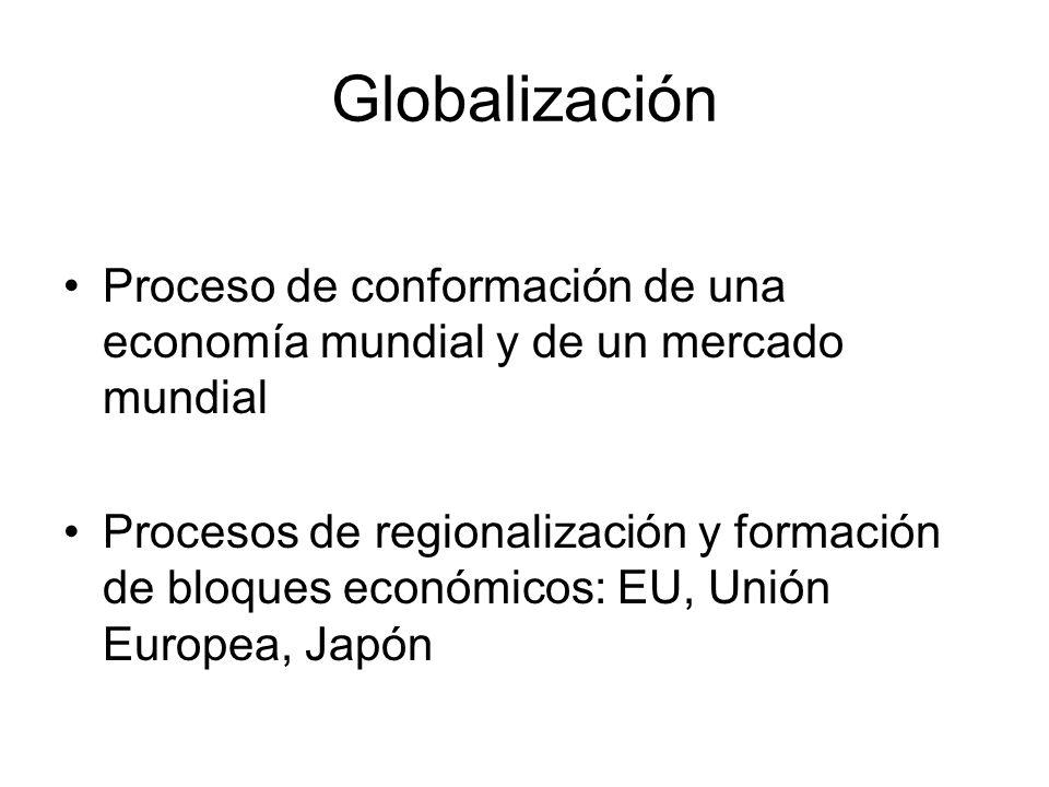Globalización Proceso de conformación de una economía mundial y de un mercado mundial.