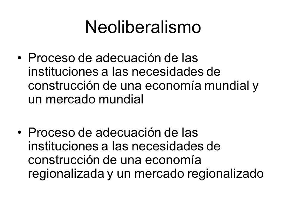 Neoliberalismo Proceso de adecuación de las instituciones a las necesidades de construcción de una economía mundial y un mercado mundial.
