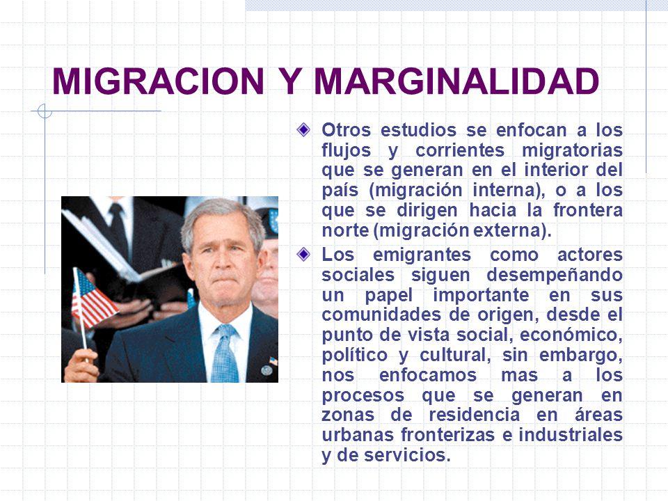 MIGRACION Y MARGINALIDAD