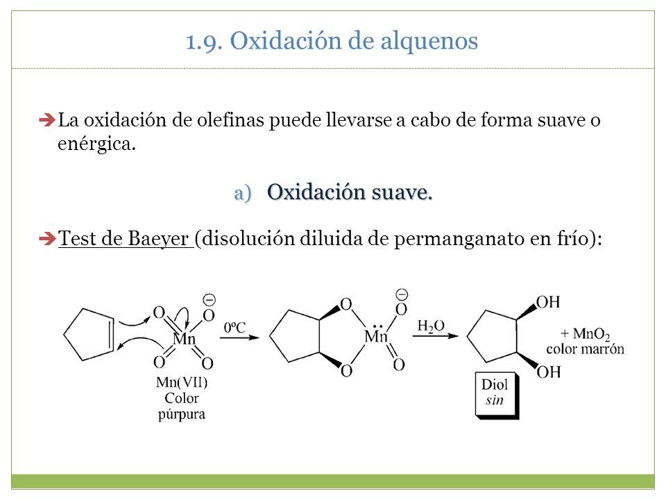 1.9. Oxidación de alquenos Oxidación suave.