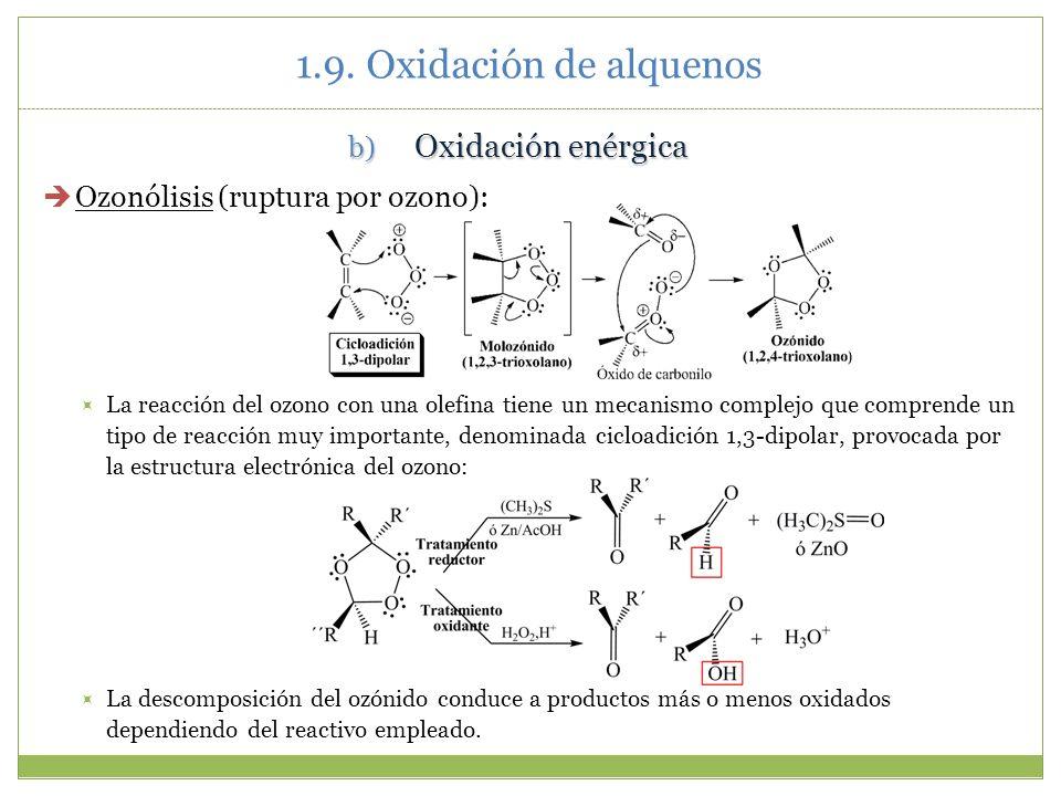 1.9. Oxidación de alquenos Oxidación enérgica