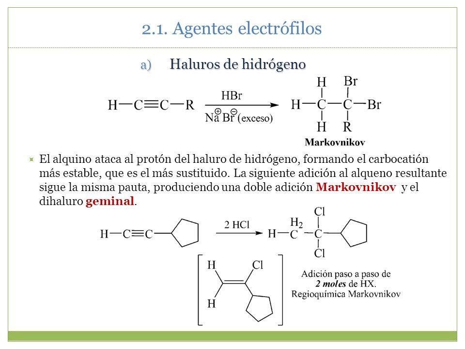 2.1. Agentes electrófilos Haluros de hidrógeno