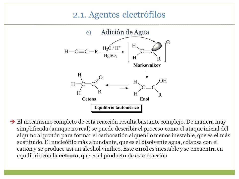 2.1. Agentes electrófilos Adición de Agua