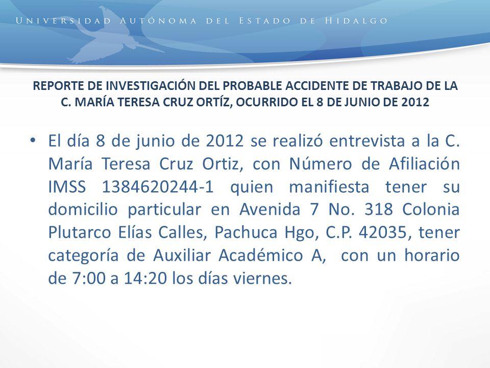 REPORTE DE INVESTIGACIÓN DEL PROBABLE ACCIDENTE DE TRABAJO DE LA C