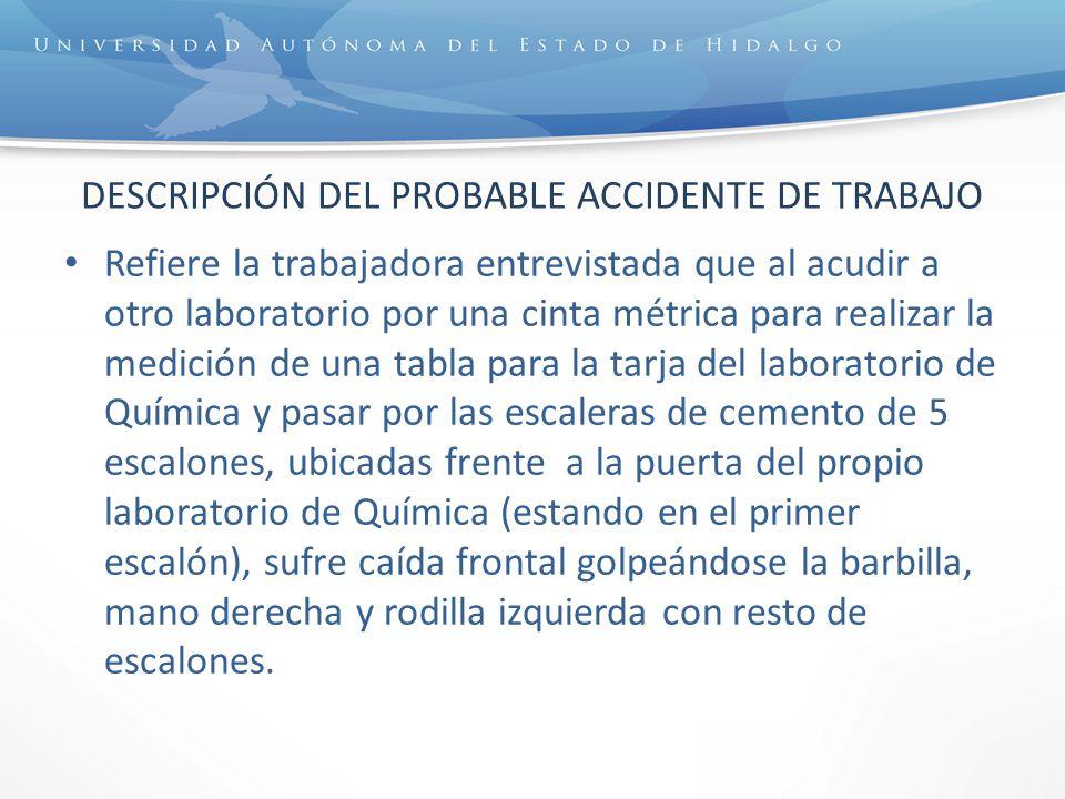DESCRIPCIÓN DEL PROBABLE ACCIDENTE DE TRABAJO