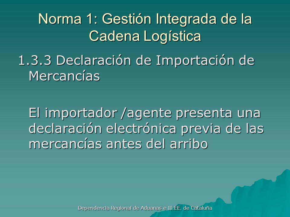 Norma 1: Gestión Integrada de la Cadena Logística