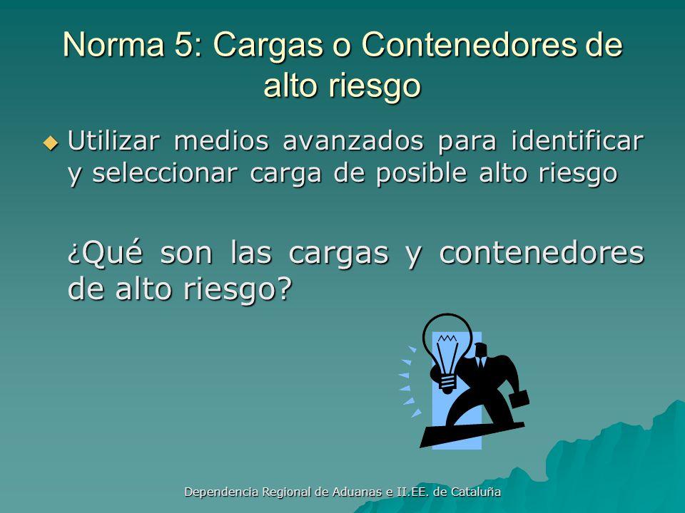Norma 5: Cargas o Contenedores de alto riesgo