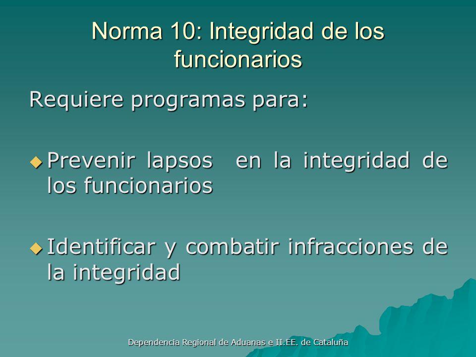 Norma 10: Integridad de los funcionarios