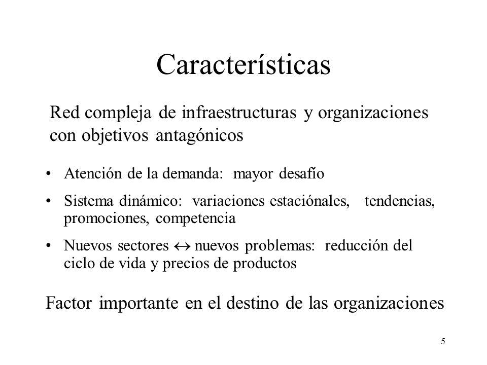 Características Red compleja de infraestructuras y organizaciones con objetivos antagónicos. Atención de la demanda: mayor desafío.