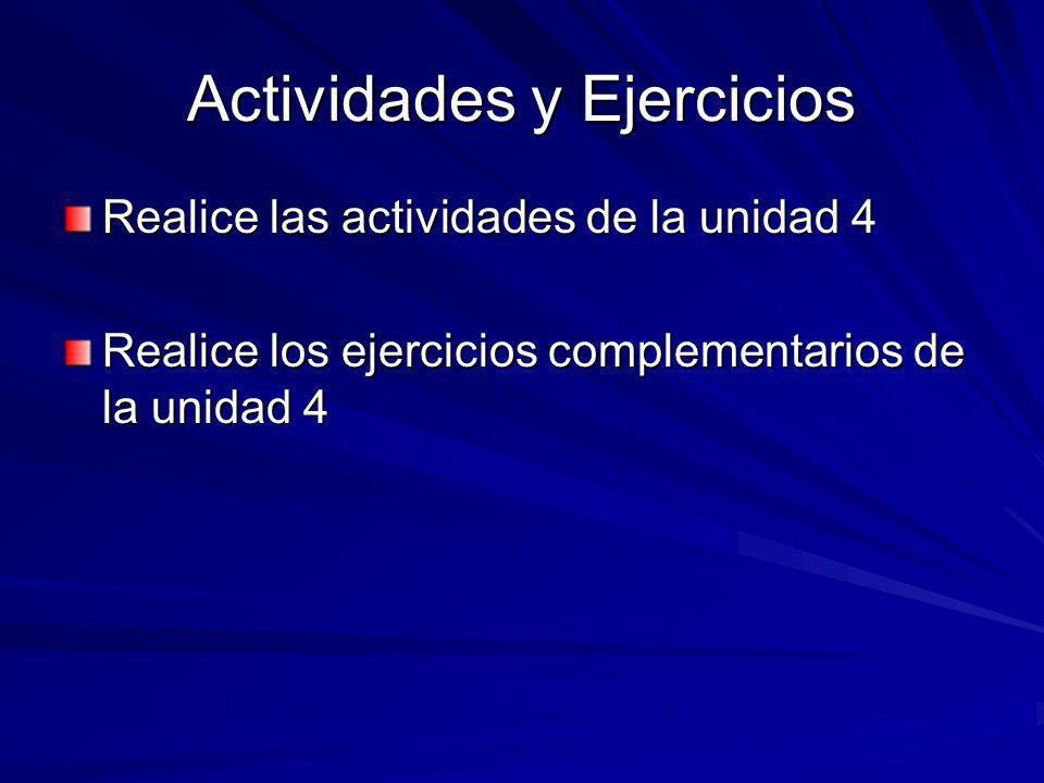 Actividades y Ejercicios