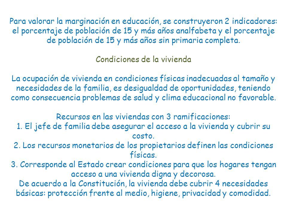 Para valorar la marginación en educación, se construyeron 2 indicadores: el porcentaje de población de 15 y más años analfabeta y el porcentaje de población de 15 y más años sin primaria completa.