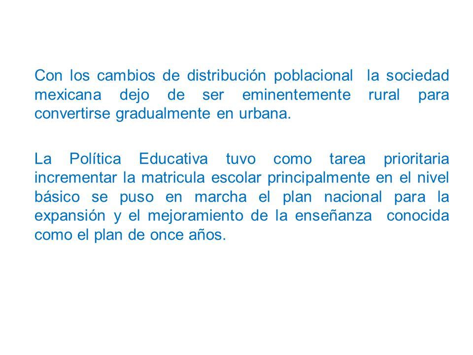 Con los cambios de distribución poblacional la sociedad mexicana dejo de ser eminentemente rural para convertirse gradualmente en urbana.