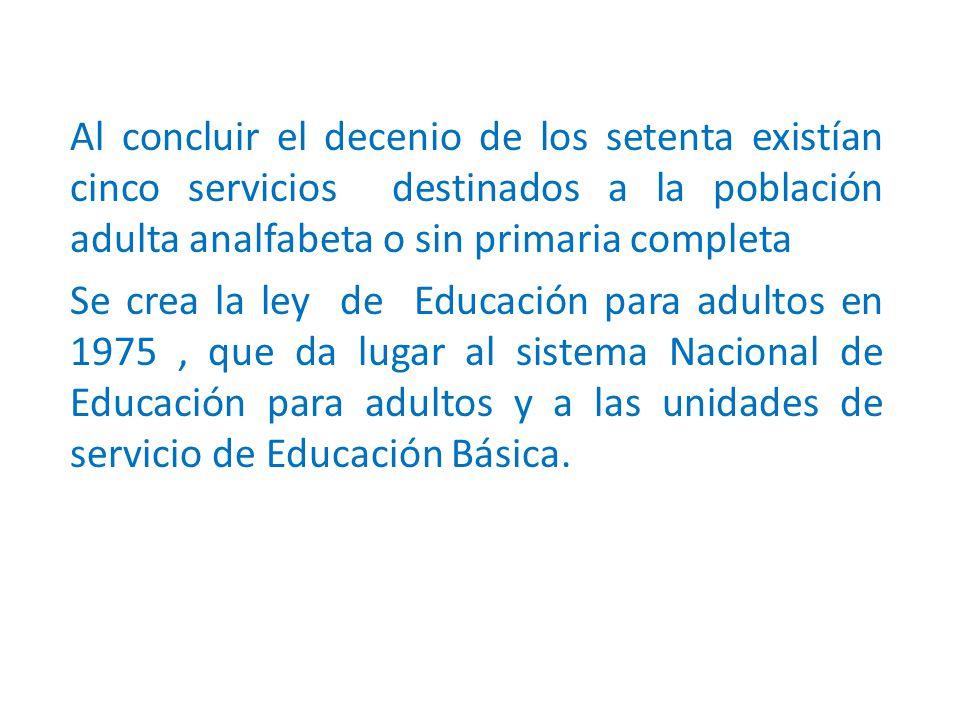 Al concluir el decenio de los setenta existían cinco servicios destinados a la población adulta analfabeta o sin primaria completa