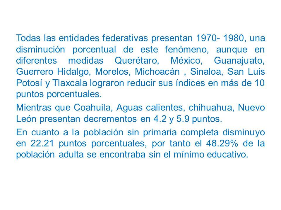 Todas las entidades federativas presentan 1970- 1980, una disminución porcentual de este fenómeno, aunque en diferentes medidas Querétaro, México, Guanajuato, Guerrero Hidalgo, Morelos, Michoacán , Sinaloa, San Luis Potosí y Tlaxcala lograron reducir sus índices en más de 10 puntos porcentuales.