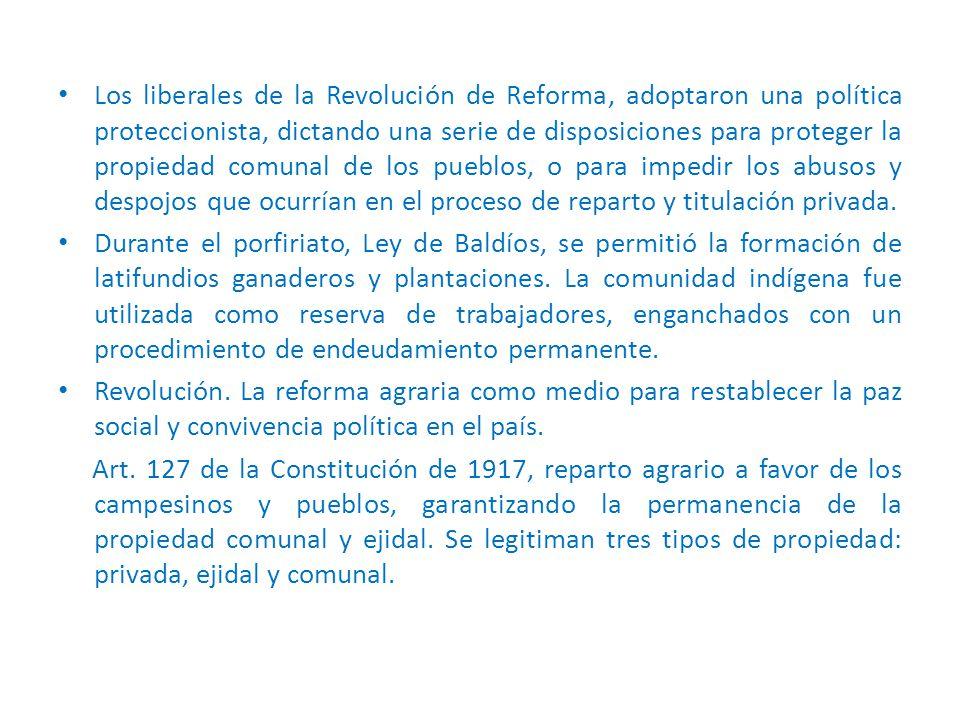 Los liberales de la Revolución de Reforma, adoptaron una política proteccionista, dictando una serie de disposiciones para proteger la propiedad comunal de los pueblos, o para impedir los abusos y despojos que ocurrían en el proceso de reparto y titulación privada.