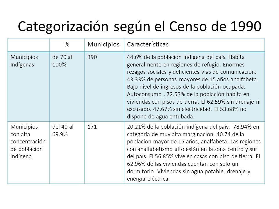 Categorización según el Censo de 1990