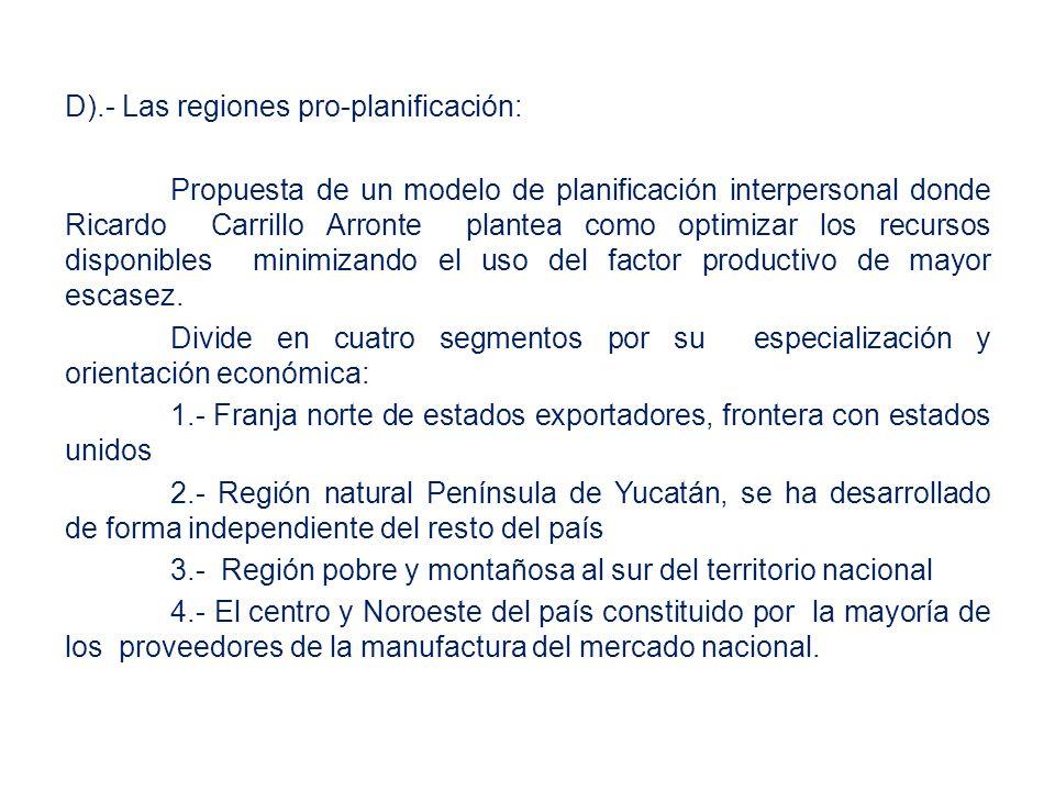 D).- Las regiones pro-planificación: