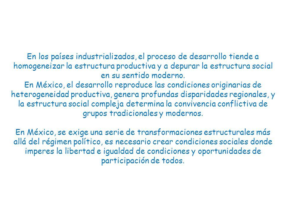 En los países industrializados, el proceso de desarrollo tiende a homogeneizar la estructura productiva y a depurar la estructura social en su sentido moderno.