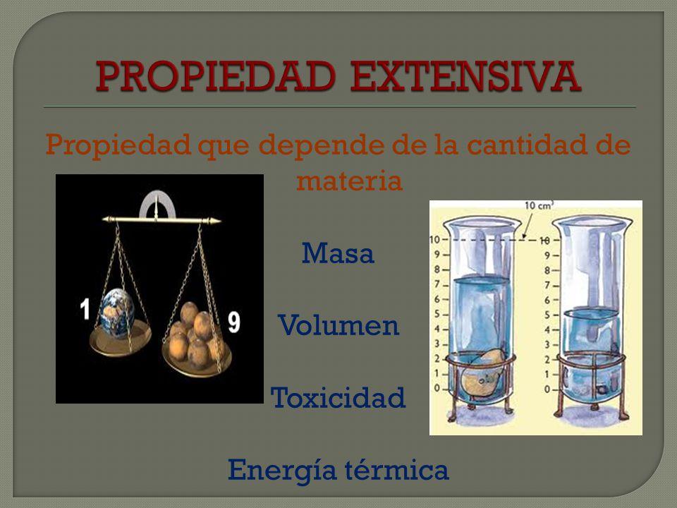 PROPIEDAD EXTENSIVA Propiedad que depende de la cantidad de materia Masa Volumen Toxicidad Energía térmica