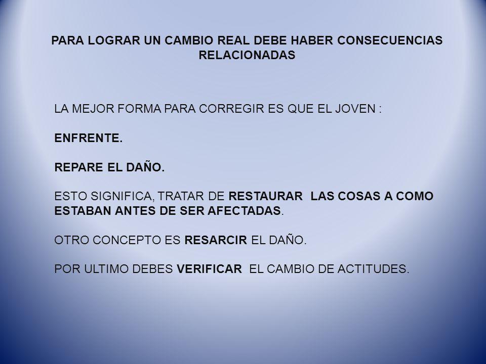 PARA LOGRAR UN CAMBIO REAL DEBE HABER CONSECUENCIAS RELACIONADAS