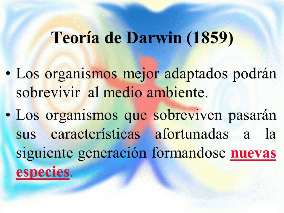 Teoría de Darwin (1859) Los organismos mejor adaptados podrán sobrevivir al medio ambiente.