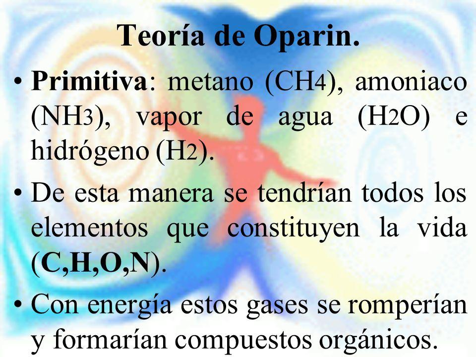 Teoría de Oparin. Primitiva: metano (CH4), amoniaco (NH3), vapor de agua (H2O) e hidrógeno (H2).