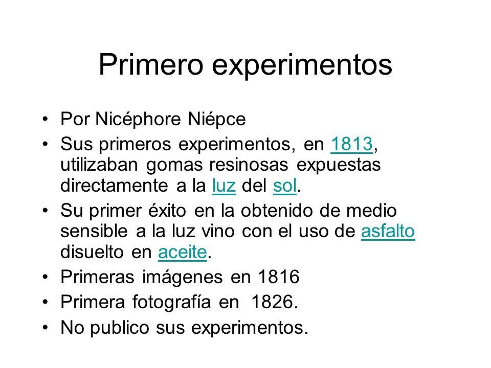 Primero experimentos Por Nicéphore Niépce
