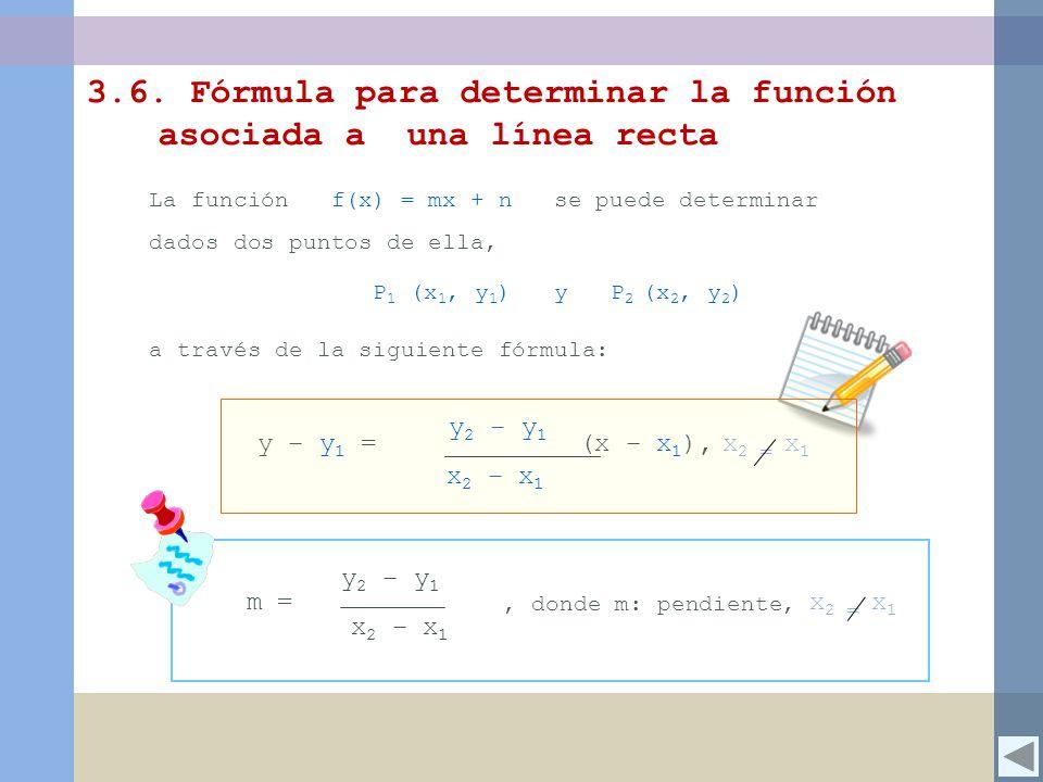 3.6. Fórmula para determinar la función asociada a una línea recta