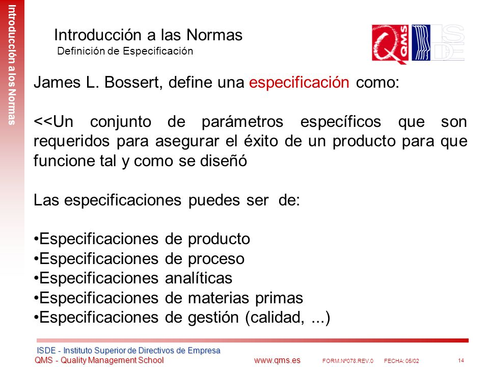 Introducción a las Normas Definición de Especificación