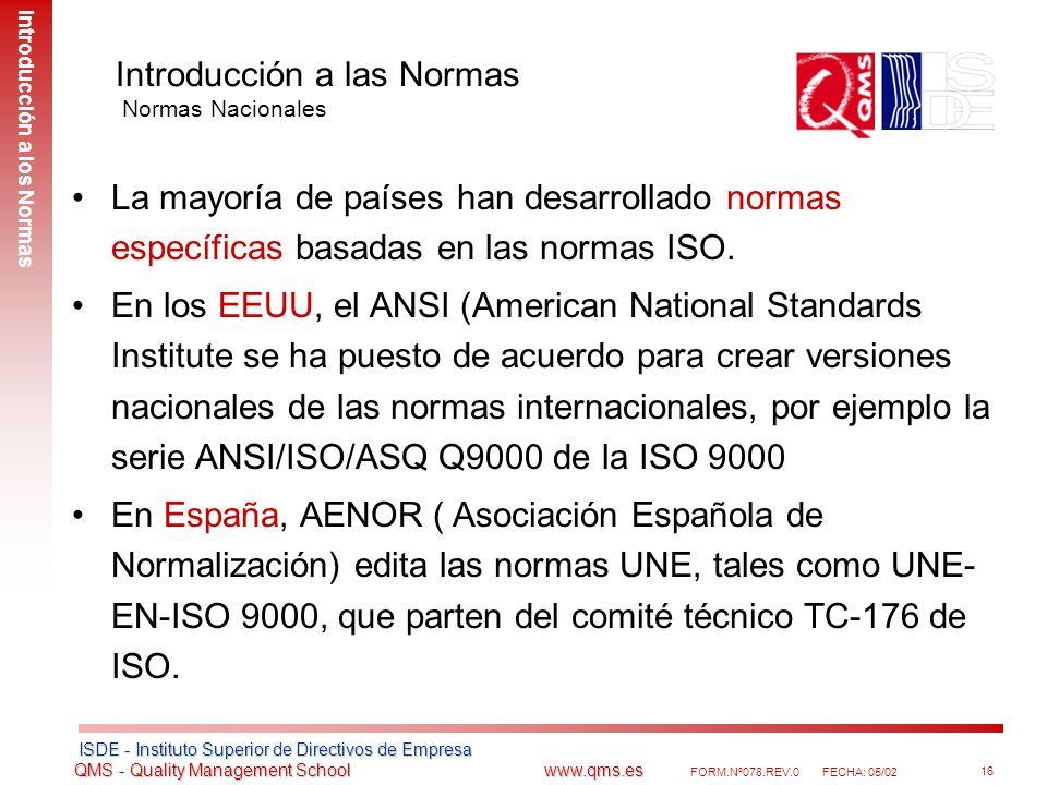 Introducción a las Normas Normas Nacionales