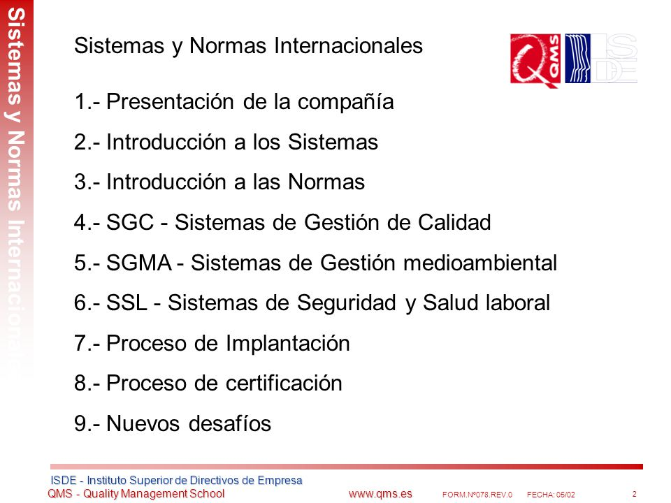 Sistemas y Normas Internacionales