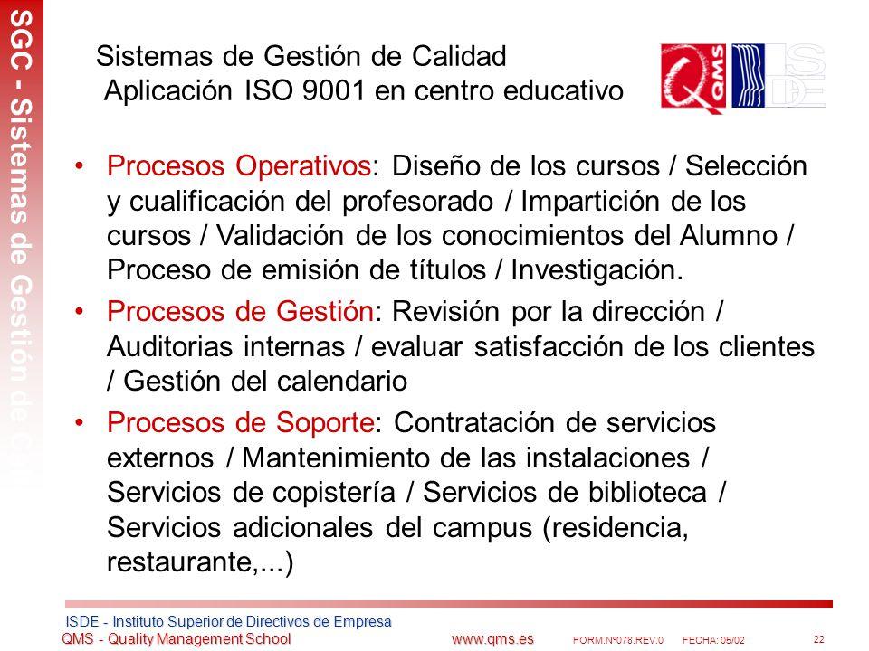 Sistemas de Gestión de Calidad Aplicación ISO 9001 en centro educativo