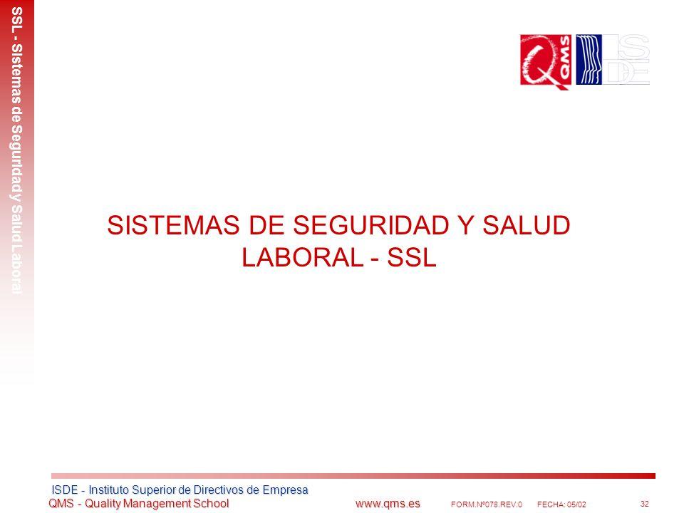 SISTEMAS DE SEGURIDAD Y SALUD LABORAL - SSL
