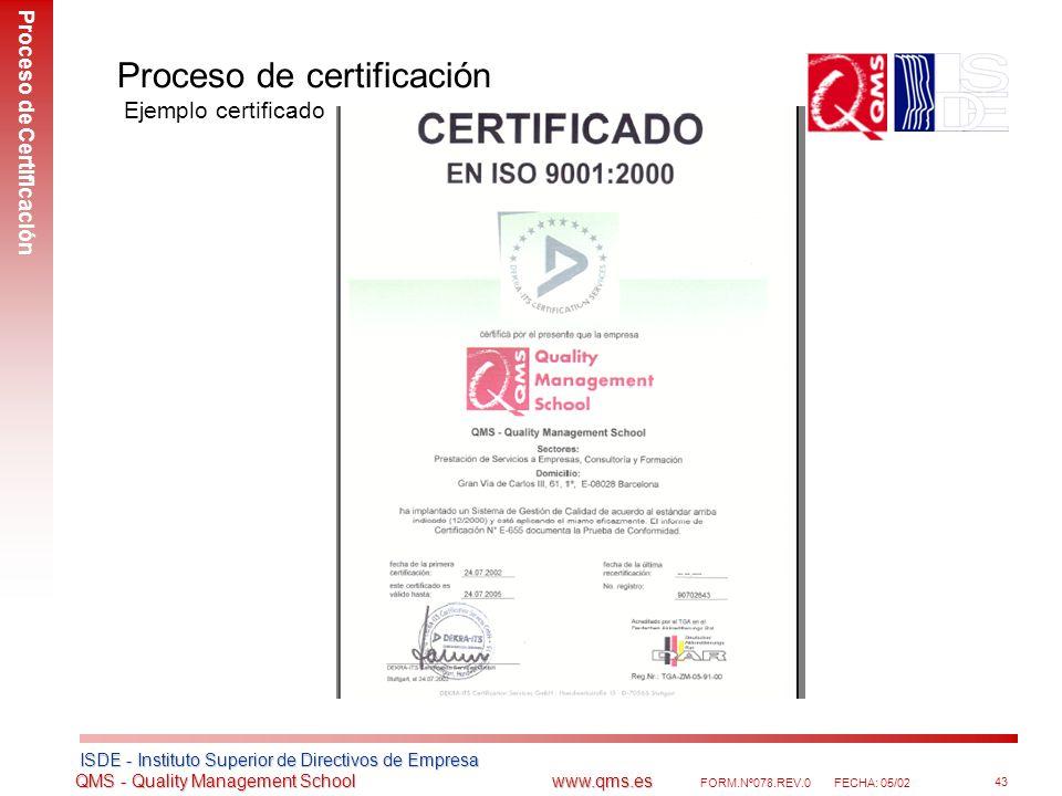 Proceso de certificación Ejemplo certificado