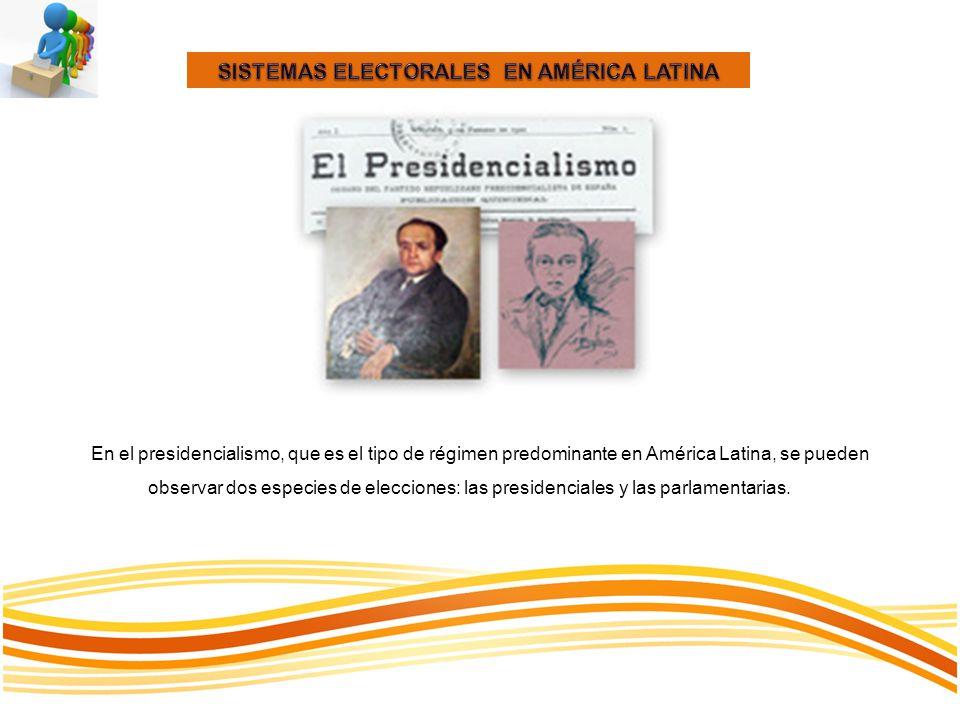 SISTEMAS ELECTORALES EN AMÉRICA LATINA