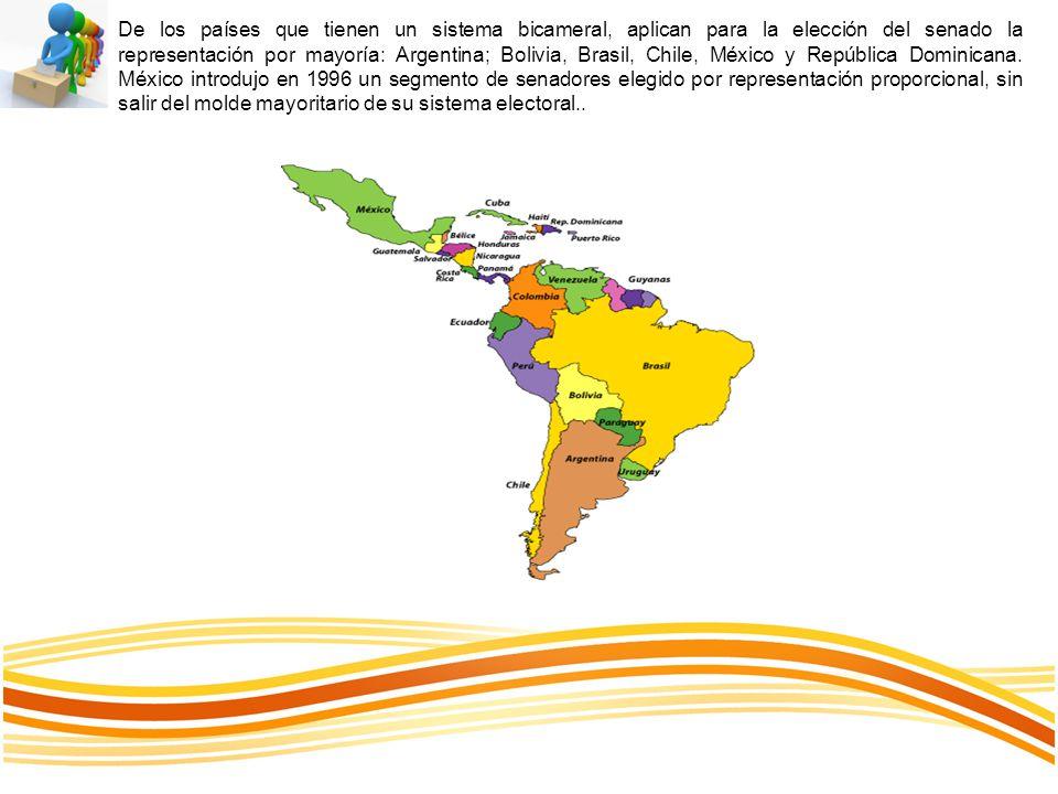 De los países que tienen un sistema bicameral, aplican para la elección del senado la representación por mayoría: Argentina; Bolivia, Brasil, Chile, México y República Dominicana.