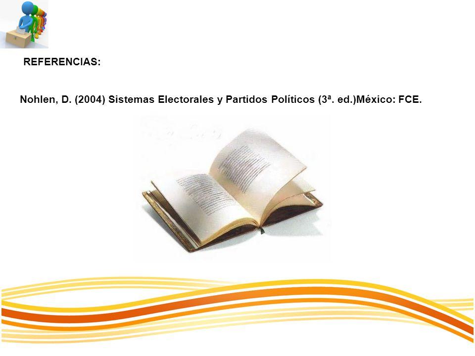 REFERENCIAS: Nohlen, D. (2004) Sistemas Electorales y Partidos Políticos (3ª. ed.)México: FCE.