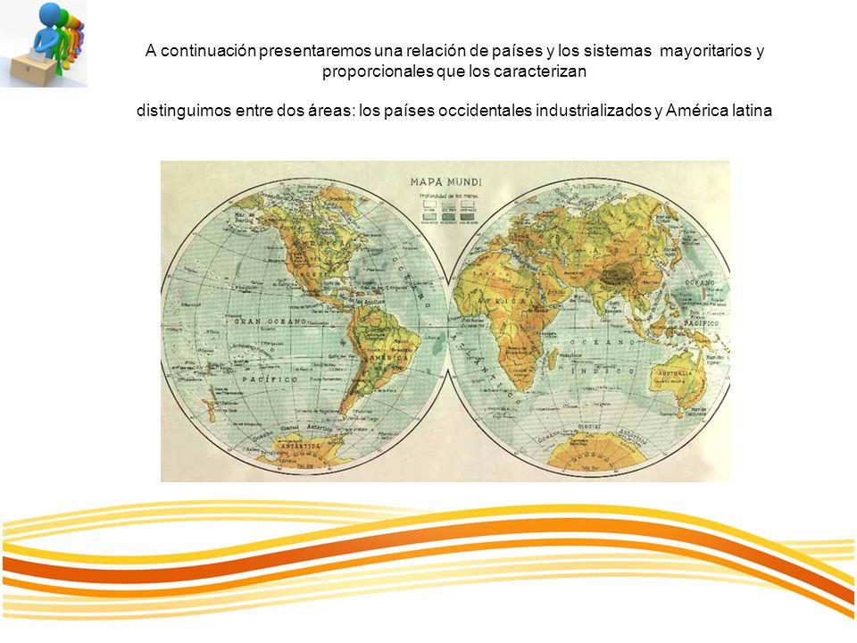 A continuación presentaremos una relación de países y los sistemas mayoritarios y proporcionales que los caracterizan distinguimos entre dos áreas: los países occidentales industrializados y América latina