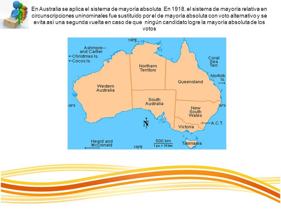 En Australia se aplica el sistema de mayoría absoluta