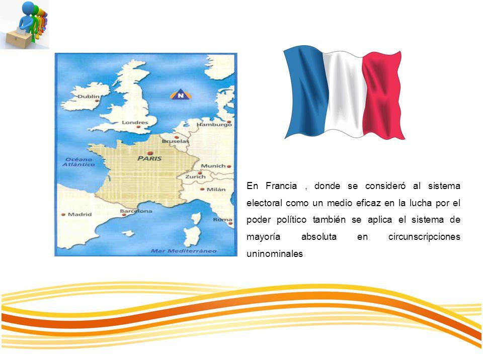 En Francia , donde se consideró al sistema electoral como un medio eficaz en la lucha por el poder político también se aplica el sistema de mayoría absoluta en circunscripciones uninominales