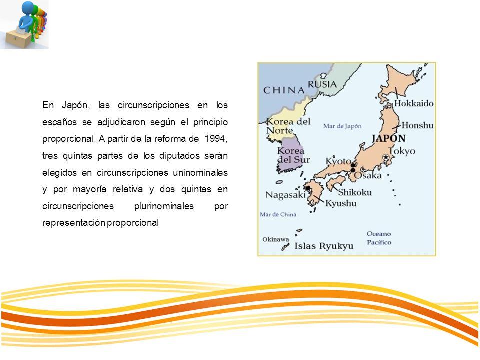 En Japón, las circunscripciones en los escaños se adjudicaron según el principio proporcional.