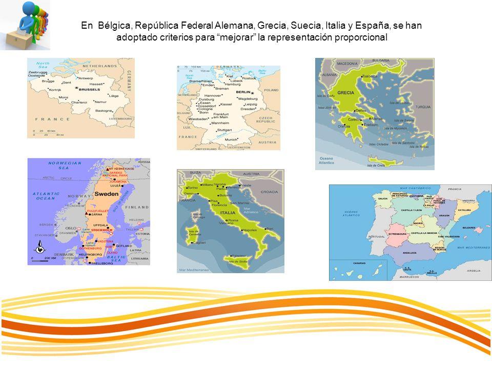 En Bélgica, República Federal Alemana, Grecia, Suecia, Italia y España, se han adoptado criterios para mejorar la representación proporcional