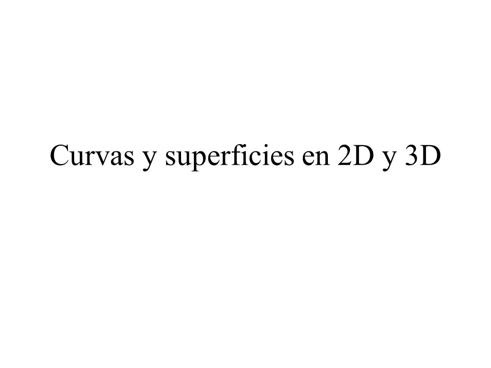Curvas y superficies en 2D y 3D