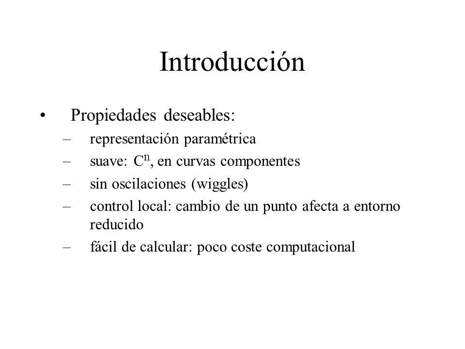 Introducción Propiedades deseables: representación paramétrica