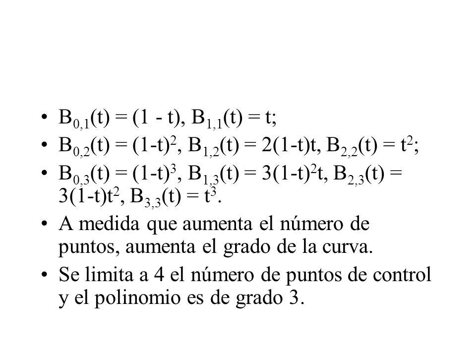 B0,1(t) = (1 - t), B1,1(t) = t; B0,2(t) = (1-t)2, B1,2(t) = 2(1-t)t, B2,2(t) = t2;