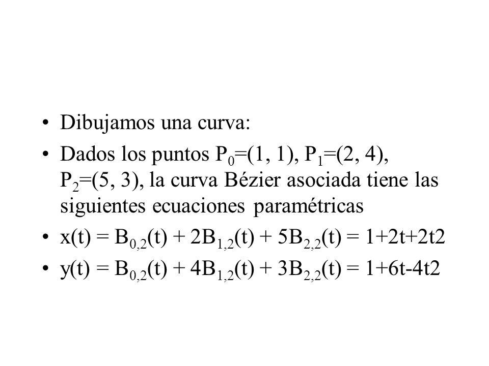 Dibujamos una curva: Dados los puntos P0=(1, 1), P1=(2, 4), P2=(5, 3), la curva Bézier asociada tiene las siguientes ecuaciones paramétricas.