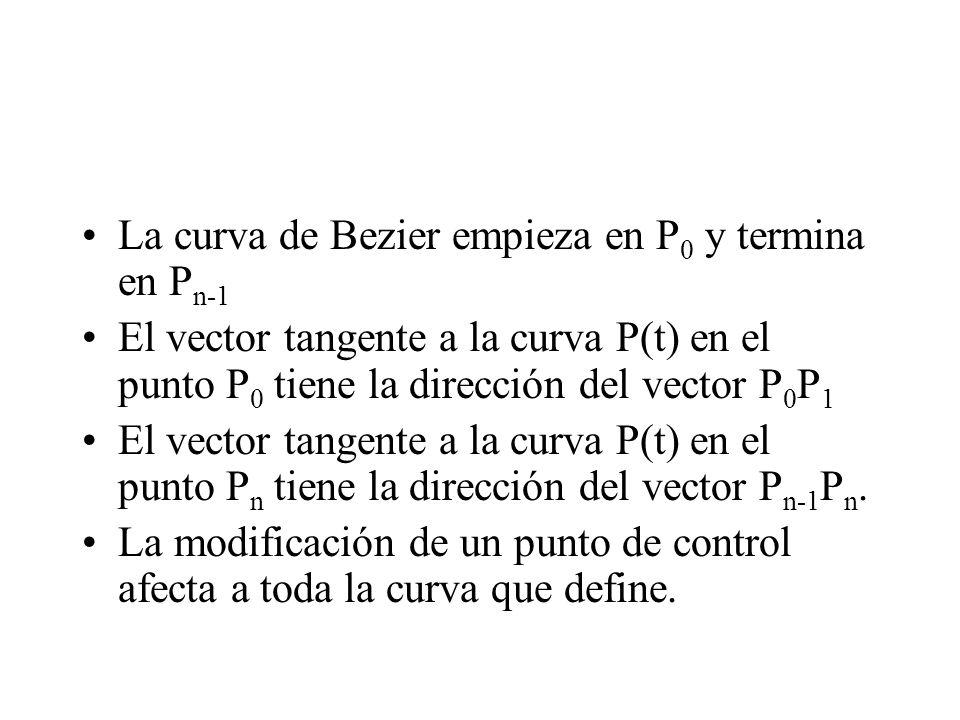 La curva de Bezier empieza en P0 y termina en Pn-1
