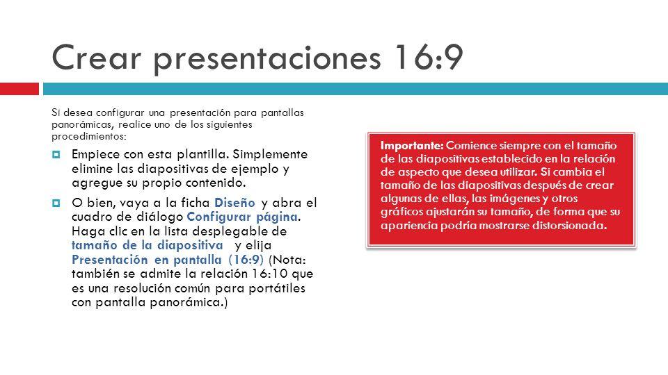 Crear presentaciones 16:9