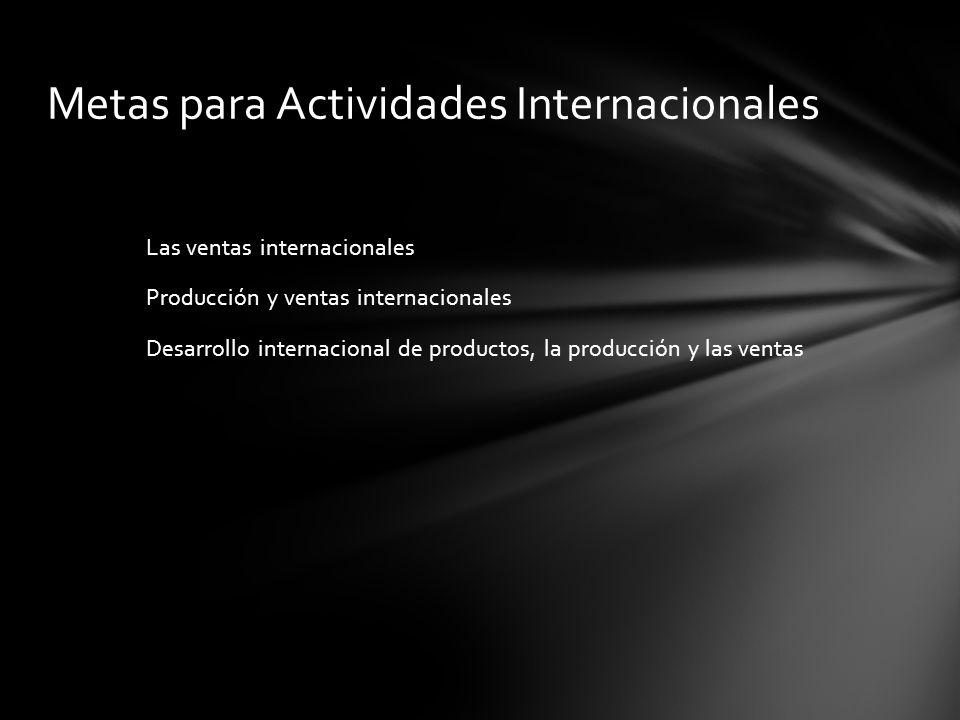 Metas para Actividades Internacionales